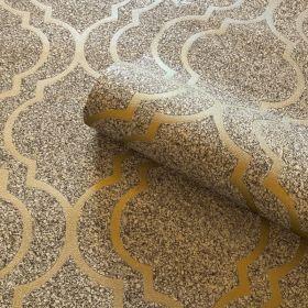 Belgravia Decor Massima Stone Effect Trellis Metallic Wallpaper - Gold 351