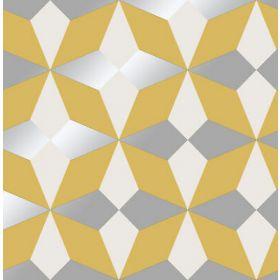 Fine Decor Nova Geometric Wallpaper Mustard Silver Grey FD42546