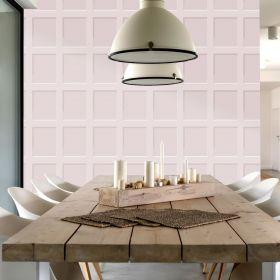 Debona Heritage Wood Panel 3D Effect Blush Pink Wallpaper - 6744