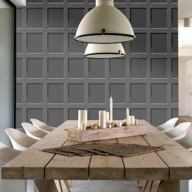 Debona Heritage Wood Panel 3D Effect Charcoal Wallpaper - 6743