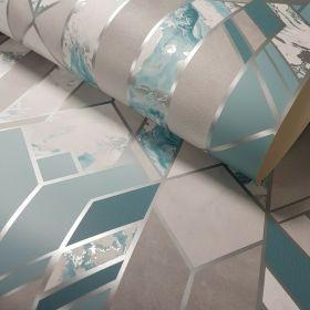 Muriva Elixir Geo Teal 167503 - Geometric Marble Wallpaper