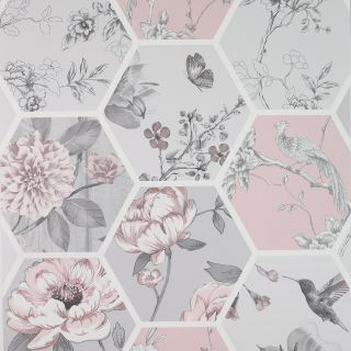 Arthouse Chinoise Decoupage Floral Geometric Pink Grey Wallpaper - 908904