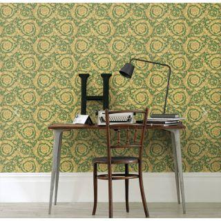 Versace Barocco Green and Yellow Wallpaper