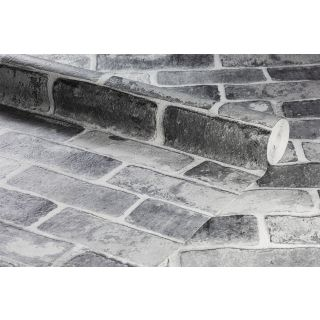 Anaglypta Embossed Realistic Grey Brick Textured Wallpaper - 1003616