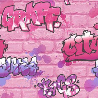 Rasch Urban Graffiti Pink Glitter Wallpaper 272918