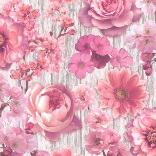 Rasch Rustic Wood Floral Rose Pink Glitter Wallpaper 270556