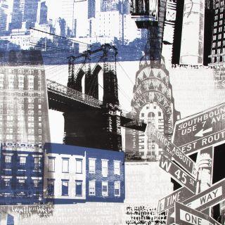 Fresco New York Blue/Black Wallpaper - 104417