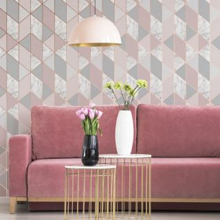 SUBLIME MARBLE GEO Pink Wallpaper - 106503