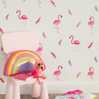 Coloroll Be Dazzled Flamazing Flamingo Sparkle White Pink Wallpaper- M1424