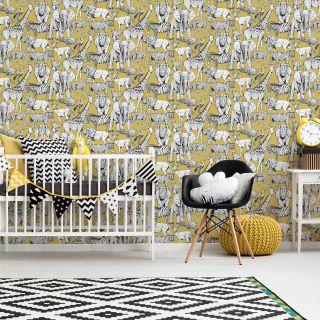 Jungle Animals Jaune Wallpaper - 110619
