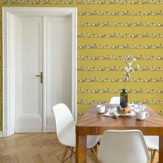 Fresco Tweeting Ochre Wallpaper - 107979