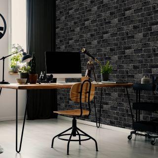 House Brick Charcoal Wallpaper - 100016