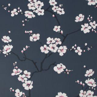 Fresco Apple Blossom Navy Wallpaper - 108118