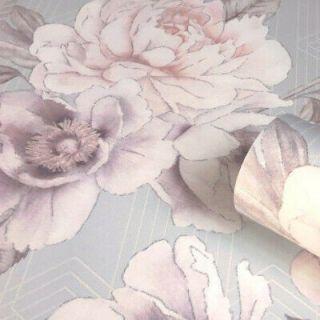 Belgravia Decor Glitter Shimmer Luxury Vinyl Roses Wallpaper-Mono/Grey- 9752