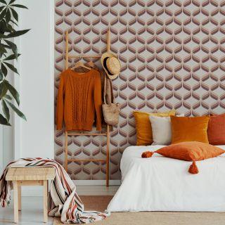 Fresco Retro Ogee Burnt Orange Wallpaper - 108278