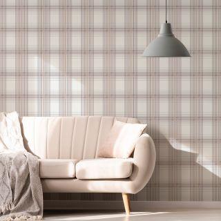 Fresco Iona Check Pink Wallpaper - 108286