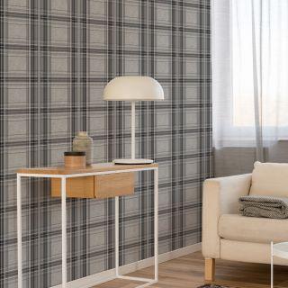 Fresco Iona Check Charcoal Wallpaper - 108287