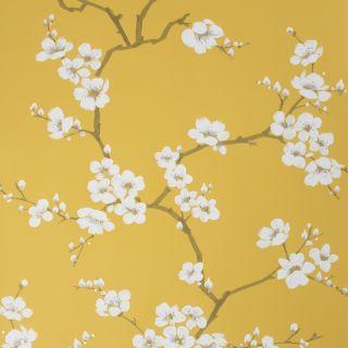 Fresco Apple Blossom Ochre Wallpaper - 108289