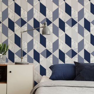 SUBLIME MARBLE GEO Navy Wallpaper - 108295