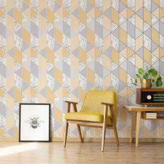 SUBLIME MARBLE GEO Yellow Wallpaper - 108296