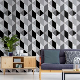 SUBLIME MARBLE GEO Charcoal Wallpaper - 108297
