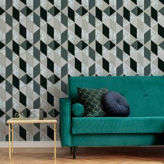 SUBLIME MARBLE GEO Dark Green Wallpaper - 108298