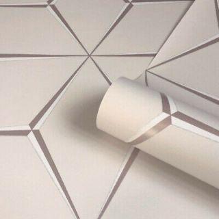 Belgravia Harper Rose Gold 3D Geometric Stars Glitter Feature Wallpaper- 9741