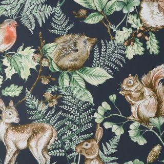 Woodland Animals Navy Wallpaper - H631-19