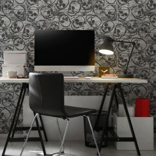 Skull Wall Grey Wallpaper - 115219