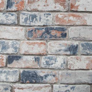 Distressed Brick Navy Red Wallpaper - 15719 1