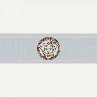 Versace Greek Key Wallpaper Border-White- 93522-3