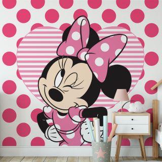 Minnie & Hearts Mural Wallpaper