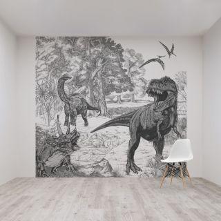 Dinosaur Sketch Mural Wallpaper