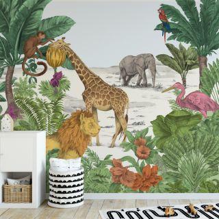Watercolour Jungle Mural  Wallpaper