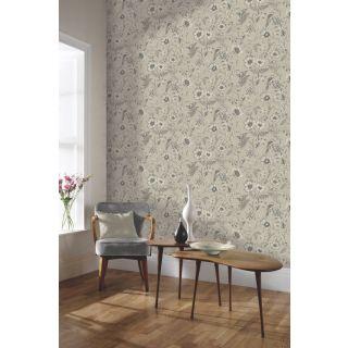 Arthouse Beige Natural Wallpaper - Floral leaf Birds 676000