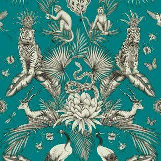 Belgravia Menagerie Exotic Tropical Palm & Animal Print Wallpaper-Teal- 2004
