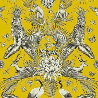 Belgravia Menagerie Jungle Themed Wallpaper-Yellow- 2001