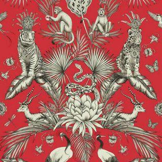 Belgravia Menagerie Exotic Tropical Palm & Animal Print Wallpaper-Red- 2003