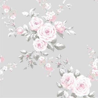 Grey Pink Floral Wallpaper White Flowers Catherine Lansfield Canterbury