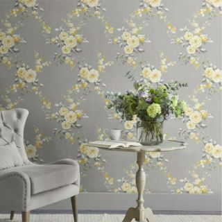 Catherine Lansfield Canterbury Grey Ochre Floral Wallpaper White Flowers