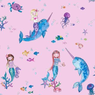 Holden Decor Narwhals and Mermaids Pink Multi Glitter Wallpaper- 91010