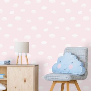 Holden Decor Cloudy Sky Pink/White Wallpaper- 90992