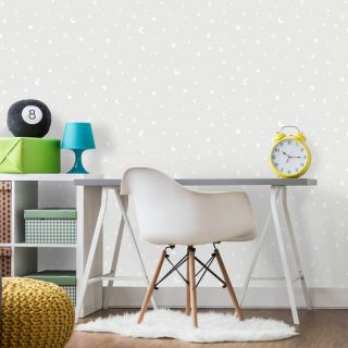 Holden Decor Stars and Moon Grey Glow in the Dark Wallpaper- 90980