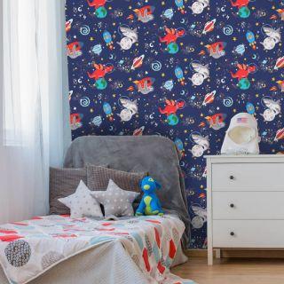 Holden Decor Space Animals Navy Glow in the Dark Wallpaper- 90922