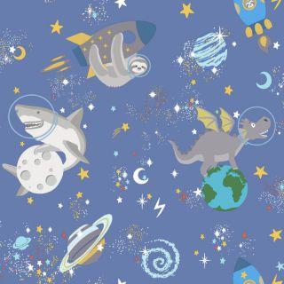 Holden Decor Space Animals Blue Glow in the Dark Wallpaper- 90921