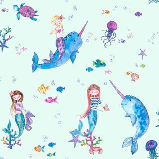 Holden Decor Narwhals and Mermaids Light Teal Multi Glitter Wallpaper- 91011
