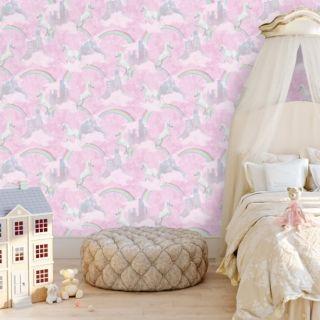 Holden Decor Unicorns Rainbow Wallpaper Sparkle Glitter KIds Pink Wallpaper