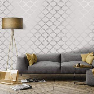 Holden Décor Glistening Trellis Geometric Wallpaper Metallic Grey Silver 12750