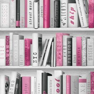 MURIVA PINK SPARKLE FASHION LIBRARY BOOKS  BOOKSHELF QUALITY WALLPAPER 139501