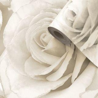 Muriva Madison Rose Floral Pearl/Cream Glitter Wallpaper - 139524
